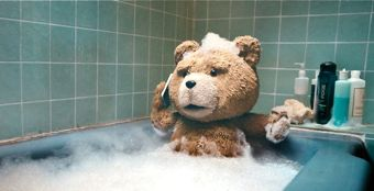 Ted the bear in bathtub