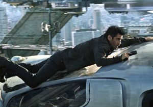 Colin Farrell on the run in science fiction film Total Recall