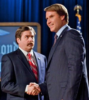 Zach Galifianakis and Will Farrell in The Campaign shake hands