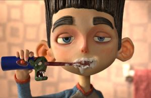Hero in stop-motion animated film ParaNorman brushes teeth