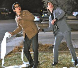In 10 Years Max Minghella and Justin Long play a prank