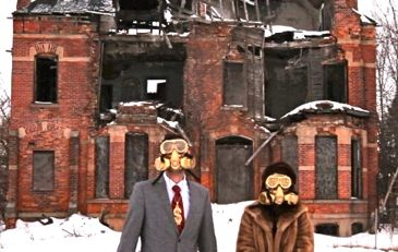 Detropia residents wear gas masks