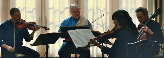 A Late Quartet rehearse for a last concert together