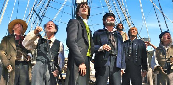 Cloud Atlas cast aboard an 1849 South Pacific ship