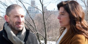 A Late Quartet members Mark Ivanir and Catherine Keener meet in Central Park