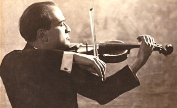 Bronislaw Huberman, founder of the Palestine Philharmonic, plays violin in archival photo