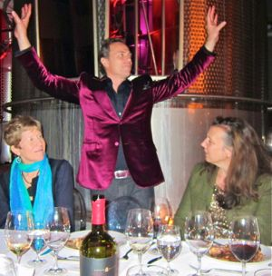 At Napa Film Fest Jean-Charles Boisset demonstrates a Burgundy cheer at the Raymond Dinner