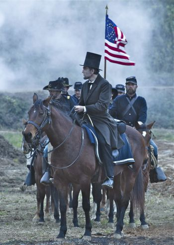 Lincoln rides with cavalry after battle