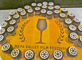 Napa Valley Film Fest logo done with cupcakes opening night