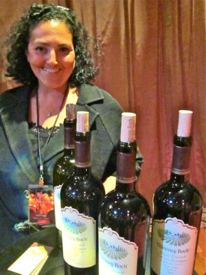 At Napa Valley Film Fest winemaker Elizabeth Vianne pours  Chimney Rock wine