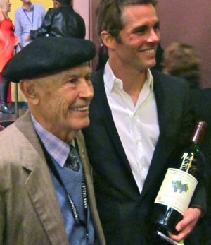 Mike Grgich and James Marsden talk to friends after the Napa Valley tribute to Marsden