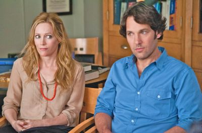This is 40's Paul Rudd and Leslie Mann sit before the school principal