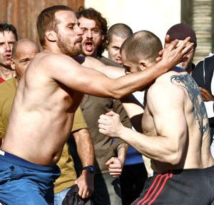 Rust and Bone's Mattias Schoenaerts competes in bare-knuckle fight