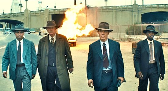 The Gangster Squad stroll away from a burning car