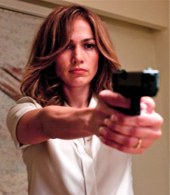 Parker's Jennifer Lopez points gun at bad guy