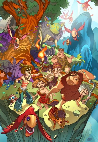 The prehistoric Croods survey their new land