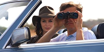 Emily Blunt and Colin Firth watch with binoculars