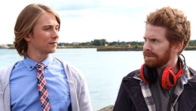 Lou Taylor Pucci and Seth Green conspire by a river