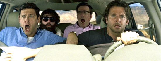 Justin Bartha, Zack Galifianakis, Ed Helms, Bradley Cooper are terrorized in car