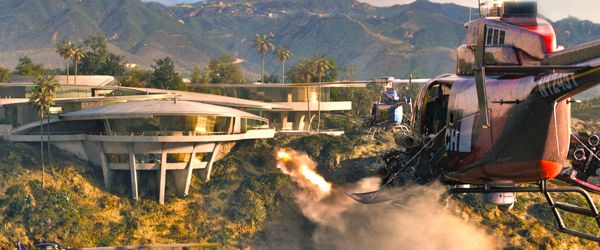 Helicopters attack Tony Stark's Malibu HQ in Iron Man 3