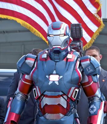 Iron Man Patriot fronts the US flag