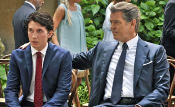 Pierce Brosnan comforts son Sebastian Jessen at his weddidng