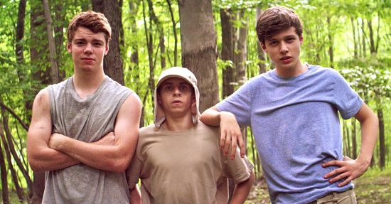 Nick Robinson, Gabriel Basso, Moises Arias strike a pose in woods