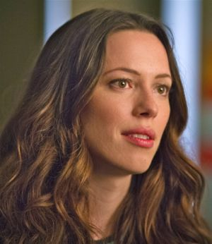 Rebecca Hall gives her ex a half-hearted smile