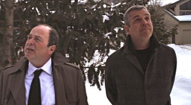 On Boxing Day Matthew Jacobs and Danny Huston look at a snowy landscape