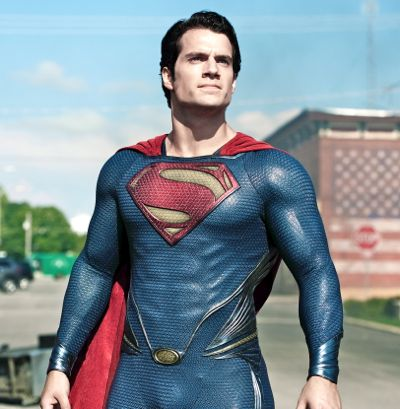 Henry Caville's Superman stands on Smallville's main street