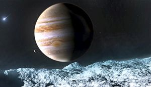 View of planet Jupiter from moon Europa