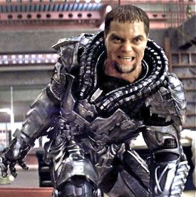 Man of Steel's Michael Shannon as Zod rushes to a fight