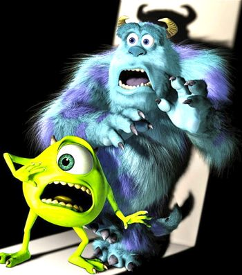 Monsters Uni's Mike and Sully get a scare