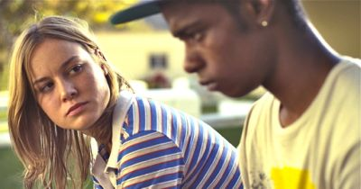Short Term 12's Brie Larson confers wtih Keith Stanfield