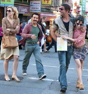 Cate Blanchett, Max Casella, Bobby Cannavale and Sally Hawkins cross Chinatown street