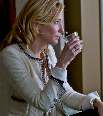 Cate Blanchett has a vodka drink in Blue Jasmine