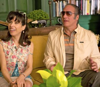 Sally Hawkins and Andrew Dice Clay look astonished at her sister's digs