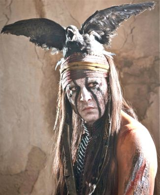 Johnny Depp as Tonto poses in full regalia