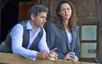 Closed Circuit's Eric Bana and Rebecca Hall share coffee in his boat house
