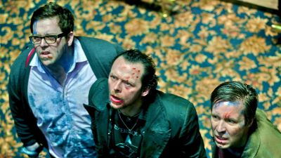 Nick Frost, Simon Pegg and Paddy Considine stare up in amazement
