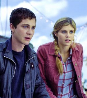 Percy Jackson's Logan Lerman and Alexandra Daddario stare off to sea from their ship