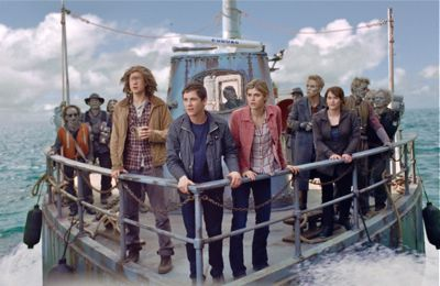 Percy Jackson and his buddies stand a prow of boat in sea of monsters