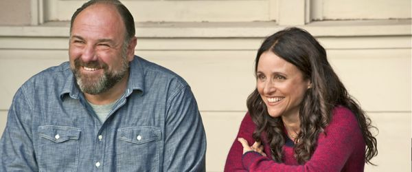 James Gandolfini and Julia Louis-Dreyfus sit on his front porch