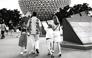 Escape From Tomorow's family walks into Epcot