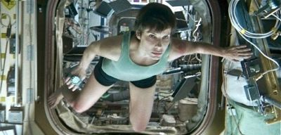 Gravity's Sandra Bullock floats through space capsule