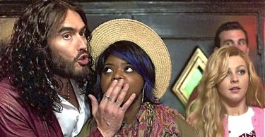 Paradise's Russell Brand holds hand over Octavia Spencer's mouth while Julienna Hough gasps