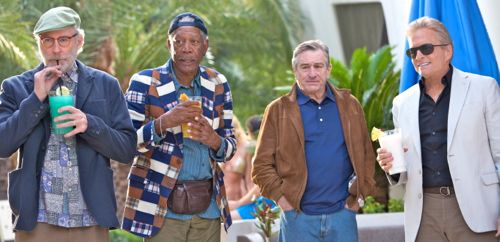 Kevin Kline, Morgan Freeman, Robert De Niro & Michael Douglas stroll by pool