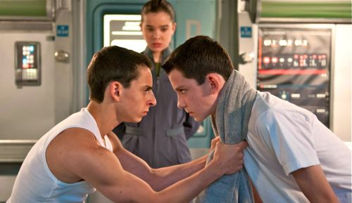 Ender's Game's Moises Arias and Asa Butterfield set to battle with Hailee Steinfeld looking on