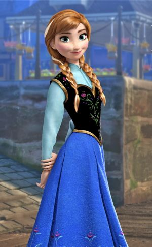Frozen's Anna stands in old town port