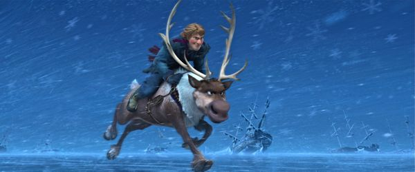 Frozen's Kristoff rides Sven the reindeer across ice